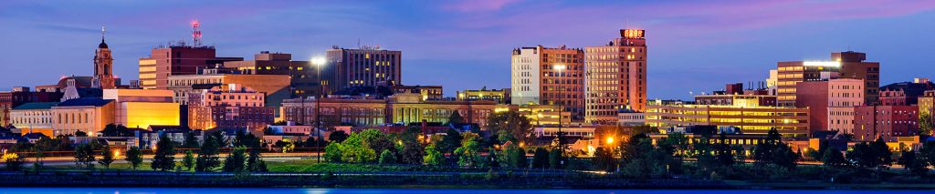 Portland, Maine, cityscape at dusk