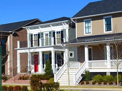 Houses in a suburban New England neighborhood